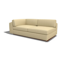 True Modern - Jackson Armless Split Sofa - For a sofa that fits your ever-expanding social life, get into modular mode. This versatile sectional piece can be paired with others to create the ultimate in modern lounging. And comfort? Unique cushion construction keeps the feather and down stuffing lush, plush and firmly in place.