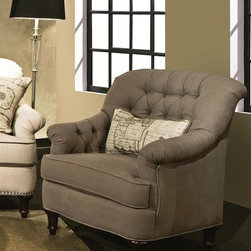 Chelsea Home - Anastacia Accent Chair - Includes toss pillows. Patented seating unit equal to frame within a frame construction. Kiln-dried fortress frame construction. Seating comfort: Medium. Dark spire legs provides extra durability. 0.88 in. hardwood arms are attached. Insulated power fasteners. Covered with heavyweight cardboard to shape curves. No seat cushion attached. Seat back cushion is attached. Seat cushion is not reversible. Heavy duty sinuous back springs spaced closely together for maximum back support and comfort. Heavier gauge coils around the perimeter of the drop in coil unit for support and balanced seating. Machine tied drop in coil unit. Constructed of pocketed coils to provide support. 2.0 HD high resiliency foam. Sewn in channels for maximum shape retention and support. Made form 92% polyester, 8% linen and hardwood. Lindy chinchilla color. Made in USA. No assembly required. Seat height: 21 in.. Seat depth: 21 in.. Seat width: 21 in.. Overall: 35 in. W x 33 in. D x 39 in. H (55 lbs.)
