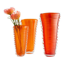 Cyan Design - Dollie Vase-Small - Orange and Clear - Small dollie vase - orange and clear