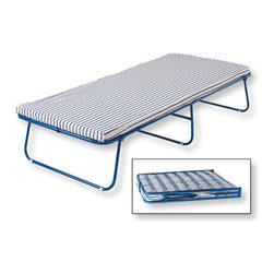 Swedish Folding Cot, Blue/White - Is it wrong that I kind of want this camp cot for my guest room? The cute enamel blue frame folds up in a snap, and I heart the ticking stripe fabric on the 2-inch foam mattress.