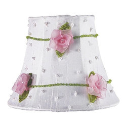 Jubilee Collection - Chandelier Shade - Pink Net Flower - White - Material: silk, metal. 3 x 5 x 4 in.