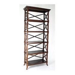 Wayborn - Charter Book Stand w 5 Shelves in Brown - Made from wood. 32 in. W x 14 in. D x 73.5 in. H (45 lbs.)