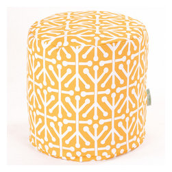 Majestic Home - Outdoor Citrus Aruba Small Pouf - Add comfort and flare to any room with Majestic Home Goods Indoor/Outdoor Small Pouf Ottomans. These small poufs can be used as a foot stool, side table or as extra seating in your home or backyard. The beanbag inserts are eco-friendly by using up to 50% recycled polystyrene beads. The removable zippered slipcovers are woven from Outdoor Treated polyester with up to 1000 hours of U.V. protection, and are machine-washable.
