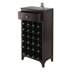Winsome Wood - Modular Wine Cabinet in Espresso Finish - One drawer. Individual wine cubby. Holds twenty four bottles. Made from solid and composite wood. Dark espresso finish. Assembly required. Drawer: 15.47 in. W x 9.25 in. D x 4.65 in. H. Wine cubby: 4 in. W x 3.9 in. D x 11.1 in. H. Overall: 19 in. W x 12.60 in. D x 37.52 in. H