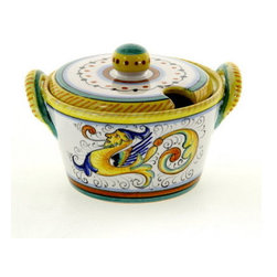 Artistica - Hand Made in Italy - Raffaellesco: Parmesan/Sugar Bowl - Raffaellesco Collection: Among the most popular and enduring Italian majolica patterns, the classic Raffaellesco traces its origin to 16th century, and the graceful arabesques of Raphael's famous frescoes.