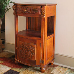International Caravan - International Caravan Carved Wood Night Stand - This sturdy wood night stand would make an attractive addition to a master a guest bedroom. It comes with hand-carved details that provide an antique look. Both the drawer and the lower door open to reveal ample storage space for personal items.