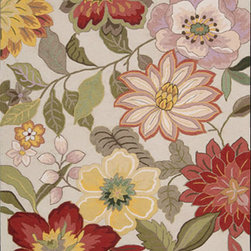 """Nourison - Nourison Fantasy Ivory Floral 3'6"""" x 5'6"""" Rug by RugLots - Oversized floral motifs and abstract designs influenced by nature comprise this remarkable collection from Nourison. Enhance any contemporary or transitional design scheme with one of these stunning rugs. Meticulously hand crafted in beautiful shades and hues in all colors of the rainbow, a rug from this collection will be sure to attract many compliments. Made to last, versatile and bold, they will encourage you to open your home to all sorts of gatherings! 70% PET, 30% acrylic. Hand hooked in China."""