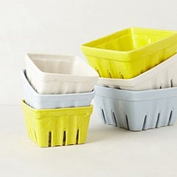 "Anthropologie - Farmers Market Basket, Small Square - StonewareDishwasher and microwave safe2""H, 4.25"" squareImported"