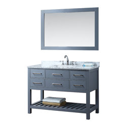 """New 48"""" Grey Manhattan Bathroom Vanity - Beautiful transitional style bathroom vanity by Ari Kitchen and Bath, a new brand manufacturing quality bathroom decor at affordable prices. The new 48"""" Manhattan comes with 1"""" edge Italian carrara marble top, backsplash, rectangle undermount CUPC basin, soft-closing drawers and doors, concealed drawer hinges, grey framed mirror and g solid wood bathroom cabinet. Absolutely no MDF or Particle board on all of our bathroom vanities. All of our bathroom vanities come completely assembled by the manufacture, minimal assembly required. Cabinet Dimensions: 48"""" height x 22"""" width x 34.5"""" height Mirror Dimensions: 48"""" width x 31.5"""""""