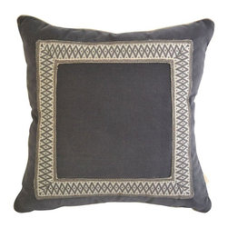 Pre-owned Gray Velvet Pillow Custom Geometric Tape - This gray velvet pillow with a custom geometric picture frame tape design in gray adds an elegant, simple aesthetic to a collection of throw pillows on the bed or sofa.    There is hidden zipper closer and the pillow includes a 90/10 down filled insert.