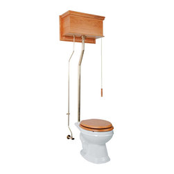 Renovators Supply - High Tank Toilets Light Oak Fin Flat Tank Round Toilet L-pipe - High Tank Toilets L-pipe: Light oak finish, flat panel, round bowl. Water-saving 1.6 GPF. One time flush, quiet & efficient, gravity-activated, SIPHONIC-ACTION washdown. Our  finish protects every Grade A Vitreous china bowl from common household stains. Ergonomically designed for comfort our  bowls ease the daily strains placed on our bodies. Ready to install, includes: hardwood tank & plastic liner, stainless steel tubing with Brass PVD finish, brass mounting parts, supply line, angle stop & bowl. Toilet seat sold separately. Adjustable overall height 70 in. to 74 in. & rough-in 12 in. to 15 in.