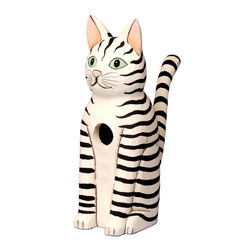 Songbird Essentials - Sitting Black & White Striped Cat Birdhouse - Songbird Essentials adds color & whimsy to any garden with our beautifully detailed wooden birdhouses that come ready to hang under the canopy of your trees. Hand-carved from albesia wood, a renewable resource, each birdhouse is hand painted with non-toxi