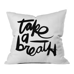 DENY Designs - Kal Barteski Take BW Throw Pillow - Wanna transform a serious room into a fun, inviting space? Looking to complete a room full of solids with a unique print? Need to add a pop of color to your dull, lackluster space? Accomplish all of the above with one simple, yet powerful home accessory we like to call the DENY throw pillow collection! Custom printed in the USA for every order.