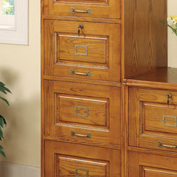 Coaster - 4 Drawer File, Oak - Perfect for any traditional home office, this secretary desk in ...