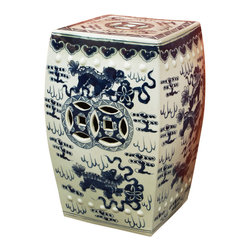 China Furniture and Arts - Blue and White Foo Dogs Porcelain Garden Stool - A pack of foo dogs at play creates a rhythmic design that graces this traditional blue and white garden stool. Elaborately hand painted with strong attention to details, this porcelain stool offers sturdy seating and can also serve as a handy platform next to a chair or chaise outdoors.