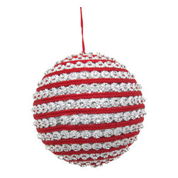 Silk Plants Direct - Silk Plants Direct Rhinestone Cord Spiral Ball Ornament (Pack of 3) - Red Silver - Pack of 3. Silk Plants Direct specializes in manufacturing, design and supply of the most life-like, premium quality artificial plants, trees, flowers, arrangements, topiaries and containers for home, office and commercial use. Our Rhinestone Cord Spiral Ball Ornament includes the following: