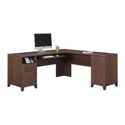 """Bush - Bush Achieve L Shaped Desk in Sweet Cherry - Bush-Computer Desks-PR67610K-The Achieve Collection L-shaped Computer Desk in Sweet Cherry finish offers modern flair for your home or business office. The desk features an expansive work surface made of dent-and scratch-resistant melamine, integrated wire management grommet to keep wires accessible yet out of the way, and 4-port USB hub. Left pedestal contains a charging station for personal electronic devices, a box drawer for miscellaneous supplies and a lockable file drawer that accommodates letter/legal/A4-size files. Right pedestal contains a large closed storage compartment with adjustable shelf. Pull hardware is brushed nickel. Convenient pull-out tray is great for keyboards or laptops. Fully furnished back side enables unit to be """"floated"""" in the middle of a room."""