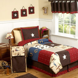 Sweet Jojo Designs - Sweet Jojo Designs Boys 'Wild West Cowboy' 4-piece Twin Comforter Set - Give your little cowboy the room of his dreams with this rootin' tootin' bedding set from Sweet Jojo Designs. Bandannas,horseshoes and cowhide squares make up this lightweight comforter set and will delight your little rascal.