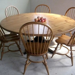 Round Farm Table in Golden Finish - Made by http://www.ecustomfinishes.com