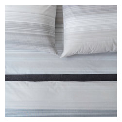 Area Inc. - Skyler White King Fitted Sheet - Area Inc. - Neutral colors and a thin stripe pattern give the Skyler White King Fitted Sheet its soft, simple look. Made from yarn-dyed cotton percale, this sheet features an irregular linear design in gray, white and beige hues. Pair it with the Skyler White Duvet Cover for a cohesive feel.
