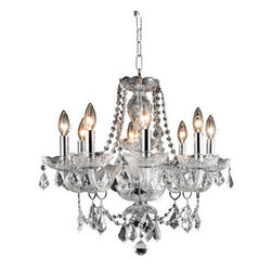 Elegant Lighting - Elegant Lighting 7838D20C/RC Princeton 8 Light Chandeliers in Chrome - 7838 Princeton Collection Hanging Fixture D20in H20in Lt:8 Chrome Finish (Royal Cut Crystals)