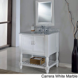 Direct Vanity Sink - 32-inch Pearl White Mission Turnleg Spa Single Vanity Sink Cabinet - This popular mission sink features a turn-leg design with the added feature of an infinity undermout convertable sink. With a quality top in your choice of black granite or white marble,this stylish cabinet offers ample storage with a pearl white finish.