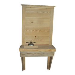 Barn Side Vanity - Using the cut off of a 12 x 4 beam we carved out a vanity basin.  Mounting it to a ship lap panel, supported by a knee brace on both sides.  Plumbing is concealed by a 8 inch drop edge