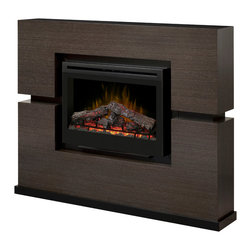 Dimplex - Linwood Grey Rift Cabinet Mantel Package - GDS33-1310RG - The Linwood Grey Rift Electric Fireplace Mantel Package has a striking veneer finish that brings warmth and art to your room. The patented Dimplex flame technology and glowing inner log set features an ember bed that pulsates and radiates with realism.