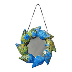 """Mirrors Decorated - """"Zeta"""" Handcrafted Papier-mache, Mirror Ornament - American made with a World View. Handcrafted papier-mâché, mirror ornaments creatively collaged. This selection includes 3 ornaments designed with: 1) An attractive, multicolored International Map, 2) World Stamps, from a bonanza of topical and pictorial stamps. Effort insures no two stamps are used on one piece and 3) """"Patchwork"""", a vivid mosaic of mix and match colored paper: plain and patterned.  The papier-mâché is made of discarded newspaper. An artist signature label is adhered to the back of each mirror. Also, the hanging hook and mirror are secured to the frames with the papier-mâché. Glass mirrors. Available in set of 3. Collect all 6 designs."""