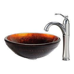 Kraus - Kraus Prometheus Glass Vessel Sink and Riviera Faucet Chrome - *The distinctive dark color of the Prometheus sink has fiery accents of red and gold, giving it visual depth and creating a dynamic surface for flowing water. Pair it with a Riviera faucet in chrome for a contemporary edge