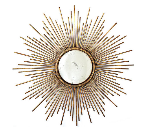 Kathy Kuo Home - La Villette Antique Gold Hollywood Regency Sunburst Mirror - A true ray of light, this ultrachic mirror adds a little Hollywood Regency glamour to your interiors. Use it in the entryway for first impressions or hang it over a console for looking glass that doubles as a work of art.