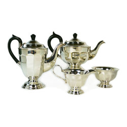 Lavish Shoestring - Consigned Silver Plated Tea and Coffee Set by Viners, Vintage English, 1930s-40s - This is a vintage one-of-a-kind item.