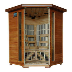 "Blue Wave - Blue Wave 3 Person Cedar Carbon Sauna - Hudson Bay - 3 Person Cedar Infrared Sauna With Carbon Heaters - Corner Unit The Hudson Bay 3 Person Cedar Corner Infrared Sauna Is Perfect For Relaxing And Rejuvenating. It Fits Conveniently Into The Corner Of The Room, And The Natural Canadian Red Cedar Wood Will Enhance Any Decor. Its Dual Interior And Exterior Led Control Panels Allow For Easy Temperature Control. Hudson Bay Is Available With Carbon Heaters, And Is Loaded With Tons Of Extras, Including Towel Hooks & Magazine Rack, Cd Player With Mp3 Plug-In, Back Rests, Color Therapy Light And An Oxygen Ionizer. The Hudson Bay Is Perfect For Basking In The Warmth With Your Family Or Friends - Add One To Your Home Today! Heaters 7 Carbon Heaters - Other Inferior Sauna Brands Have Only 5 Heaters Or Less. More Heaters Means Your Heatwave Infrared Sauna; Is More Effective! Location - The Hudson Bay Corner Carbon Sauna Has 2 Carbon Heaters On The Left Back Wall, 2 On The Right Back Wall, 2 On The Front Of The Bench And 1 On The Floor. These 7 Carbon Heaters Evenly Bask You In Soothing Infrared Heat. Infrared Wavelength - Heatwave Saunas; Put Out Far Infrared Wavelengths From 5-12 Microns, Which Are The Portions Of Infrared Heat That Most Benefit The Human Body. Operating Temperature - Heatwave Saunas; Operate Up To 141 Degrees F. 1760 Watts - See Power Distribution Diagram For Individual Heater Locations And Wattages. Wood & Construction Heatwave Saunas; Are Made Of Solid Canadian Red Cedar And Are Constructed With Tongue & Groove Assembly. The Exterior Of The Sauna Is Stained With An Appealing, Natural Color; The Interior Is Smooth Sanded Natural Wood. Power Requirements This Heatwave Sauna; Uses 120V/20 Amp Power. *Note: Electrical Modifications May Be Required To Accommodate 20 Amp Power. Features Control Panel Heatwave Saunas; Come Equipped With Dual Easy-Touch Interior And Exterior Led Control Panels - Easily Adjust Your Sauna Settings From Inside Or Outside. Bronze Tinted Glass The Door And Glass Panels On Heatwave Saunas; Are Made Of Beautiful, 8Mm Thick, Bronze Tinted Tempered Glass. The Tint Provides A Bit Of Privacy And Aids In Heat Retention, While Providing The Safety Of Tempered Glass. Lighting Sauna Is Equipped With Interior And Exterior Lighting, As Well As A Color Therapy Light With Remote. Enjoy Some Reading While Basking In The Warmth Of Your Heatwave Sauna; Sound System The Hudson Bay Comes Standard With A Radio With Cd Player And Aux Mp3 Connection With Built In Speakers, So You Can Crank Up Your Favorite Tunes While Soaking Up All The Health Benefits Of Your Sauna! Other Inferior Sauna Brands Make You Pay Extra For This Option, But Every Heatwave Sauna; Comes With A Sound System Standard. Air Vents The Adjustable Roof Vent Allows You To Open The Vent To Bring In Outside Air If Desired. Vent Holes In Floor Help Provide Air Circulation. Color Therapy Bulb The Color Therapy Bulb Allows You To Bask In Rotating Colors, Or Choose A Steady Stream Of One Of The Six Available Colors. Enhances The Sauna Experience. Other Sauna Brands Offer This As An Option For An Additional Cost, But The Color Therapy System Is Included With This Heatwave Sauna; A $99.95 Value! Control Panel For Color Therapy Light The Color Therapy Light System Is Easily Controlled With The Control Panel Located Inside The Sauna. Color Therapy Adjustments Are At Your Fingertips. Ergonomic Back Rests The 3 Person Heatwave Saunas; Include 3 Movable Cedar Backrests, For Ultimate Sauna Comfort. Back Rests Can Be Moved To Any Desired Location, Making Your Sauna Session Even More Comfortable And Enjoyable. Oxygen Ionizer The Included Electronic Oxygen Ionizer Releases Negative Ions, Which Help Purify The Air In Your Sauna, Keeping It Clean And Fresh. The Ionizer Is An Optional Feature With Many Inferior Sauna Brands, But It's Included In This Heatwave Sauna;! A $49.95 Value! Capacity - The Hudson Bay Will Comfortably Seat 3 People On The Extra Deep Benches That Runs Along The Back Walls Of The Sauna. Product Dimensions - Once Assembled The Hudson Bay Sauna Measures Approximately 53""X53""X75"". See Dimensions Diagram For Details. Assembly Heatwave Saunas; Come Partially Assembled, And To Complete Assembly You Will Need 2 People, A Screwdriver, A Ladder And About An Hour. Comprehensive Instruction Manual Is Included, And In A Very Short Amount Of Time Your Sauna Will Be Ready For Use! Warranty 5-Year Warranty On Heaters, Structure & Electrical. 1-Year Warranty On Radio. Certification Heatwave Saunas; Are Proudly Backed By Cetl, Which Is Etl Valid In U.S. And Canada. Shipping Information Shipping Weight - 398 # Of Cartons - 3 Shipment Dimensions - 78""X60""X30"""