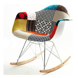 Lemoderno - Fine Mod Imports  Patterned Rocker Arm Chair - Add a splash of color to your home with this uniquely designed rocker arm chair. The Ginger Rocker Arm Chair is covered with high quality cotton fabric in a patchwork design. It  is a comfortable, stylish and supportive chair. Material: White ABS Frame Stainless Steel Legs Ash Wood Runners  Assembly Required