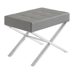 Sunpan - Sunpan Mercer Grey Upholstered Bench - Whether integrated as a dining table seating option or used as a stool or ottoman in a living space,this Mercer upholstered bench features a cushioned seat wrapped in grey faux leather,mounted atop a polished chrome metal base.