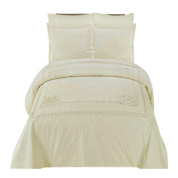 Bed Linens - Athena Embroidered Duvet cover SetFull-Queen Ivory - You are invited to experience the comfort, luxury and softness of our luxurious Embroidered duvet covers. Silky Soft made from 100% Egyptian cotton with 300 Thread count woven with superior single ply yarn. Quality linens like this one are available only at selected Five Stars Hotels.