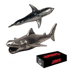 KOOLEKOO - Jaws Bruce Shark Bottle Opener - Hello, Brucie! Crack open a drink while singing your favorite sea shanty with the Jaws Bruce Shark Stainless Steel Bottle Opener. Crafted from solid stainless steel and accurately sculpted as Bruce, the shark from the terrifying movie Jaws. It looks just dandy in the fanciest or saltiest of establishments!