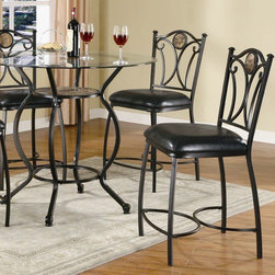 """Wildon Home � - Starks 24"""" Counter Height Chair in Black (Set of 2) - This pretty stool will add an elegant touch to your casual dining and entertainment room. The counter height chair is crafted of cool black metal, with a curvy chair back featuring scrolled details, and a textural stone accent for a unique look. A plush black faux leather covered seat adds both comfort and luxury to this counter height chair. Pair with the matching table for a complete casual dining ensemble. Features: -Starks collection. -Black finish. -Casual style. -Subtly curved metal legs. -Plush faux leather seat. -Metal back with scroll detail and stone accent. -Assembly required. -Dimensions: 41"""" Height x 19"""" Width x 21"""" Depth."""