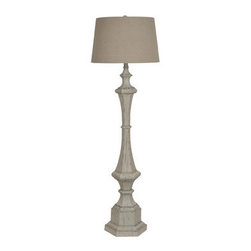 "Crestview - Wooden Column Floor Lamp - Resin Floor Lamp in White Wash Finish (16x19x12"" Natural Linen Shade)"