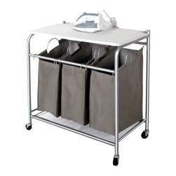 StorageIdeas - StorageIdeas® 3 Lift-off Bags Laundry Sorter with Foldable Ironing Board - Features: