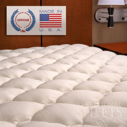 "ExceptionalSheets - Extra Plush Bamboo Top Mattress Pad - You'll love the luxurious comfort of this mattress pad! Top-quilted bamboo blend fabric is silky to the touch and is extra plush for a more comfortable sleep. The bamboo fabric breathes extra well and can even help cool down those extra warm mattress (perfect to counterbalance Tempurpedic). The bamboo plant is a sustainable resource and the fastest growing plant in the world. Go Green and sleep better at the same time!  Elastic skirt fits up to 50.8cm (20"") mattresses. Top is 70% polyester/30% rayon from bamboo and is filled with 6.35cm (2.5"") of plush, supportive synthetic. Backing is made of 50% cotton/50% polyester. Skirt is made of 76% polyester/16% nylon/8% spandex. Dimensions: Twin: 99 x 190.5 cm, Twin XL: 99 x 203.2 cm, Full: 137.2 x 190.5 cm, Queen: 152.4 x 203.2 cm, King: 193 x 203.2 cm, Cal King: 182.9 x 213.4 cm. Care Instructions: Machine wash warm. Tumble dry low. Do not use softeners in washer or dryer. This pad soaks up lots of water, so keep it out of low-volume washers and dryers."