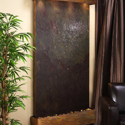 The Summit Falls Wall Water Feature - This beautiful wall waterfall is absolutely stunning whether in copper, stainless or copper vein powdercoat frame the LW Slate wall waterfall masterpiece will surely impress your guests, neighbors or clients and bring tranquility to any environment. This Light weight Slate wall waterfall is a perfect piece of art for your home or bus indoor or outdoor!Hand crafted by the finest artisans the Adagio LW Slate wall fountain includes easy- to- follow setup instructions.
