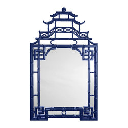 Mirror Image Home - Barclay Butera for Mirror Image Home Pagoda Mirror, Blue - Pagoda architecture has inspired tons of mirror designs. The bright blue lacquer on this one gives it a fresh, contemporary feel.