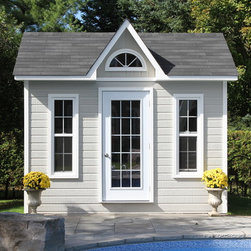 Pool Cabanas - Our traditional Copper Creek pool cabana complemets any backyard and doubles a work and storage space. Light colors of the shimmering cedar siding brighten up the whole look.