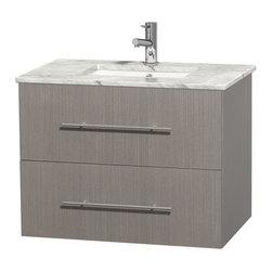 Wyndham Collection - Centra Bathroom Vanity in Grey Oak,White  Carrera Counter,UM Sink,No Mirror - Simplicity and elegance combine in the perfect lines of the Centra vanity by the Wyndham Collection. If cutting-edge contemporary design is your style then the Centra vanity is for you - modern, chic and built to last a lifetime. Available with green glass, pure white man-made stone, ivory marble or white carrera marble counters, with stunning vessel or undermount sink(s) and matching mirror(s). Featuring soft close door hinges, drawer glides, and meticulously finished with brushed chrome hardware. The attention to detail on this beautiful vanity is second to none.