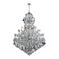 """Worldwide Lighting - Maria Theresa 48 Light Chrome Finish Crystal Chandelier Extra Large 3 Tier 52"""" D - This stunning 48-light chandelier only uses the best quality material and workmanship ensuring a beautiful heirloom quality piece. Featuring a radiant chrome finish and finely cut premium grade crystals with a lead content of 30%, this elegant chandelier will give any room sparkle and glamour. Worldwide Lighting Corporation is a premier designer manufacturer and direct importer of fine quality chandeliers, surface mounts, and sconces for your home at a reasonable price. You will find unmatched quality and artistry in every luminaire we manufacture."""