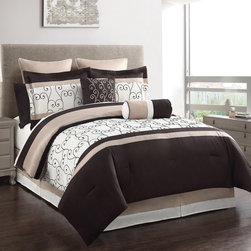 None - Heston 12-piece Embroidered Comforter and Sheet Set - A chic vine scrollwork detail decorates an ivory backdrop to form the lovely embroidered Heston comforter. Designed with chocolate and beige accents,this warm comforter features matching shams,decorative pillows and a sheet set.