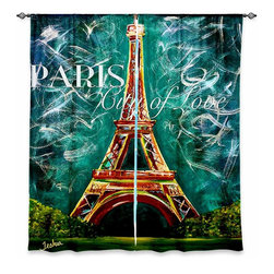 """DiaNoche Designs - Window Curtains Lined by Teshia Lamour a Paris Moonlight - Purchasing window curtains just got easier and better! Create a designer look to any of your living spaces with our decorative and unique """"Lined Window Curtains."""" Perfect for the living room, dining room or bedroom, these artistic curtains are an easy and inexpensive way to add color and style when decorating your home.  This is a woven poly material that filters outside light and creates a privacy barrier.  Each package includes two easy-to-hang, 3 inch diameter pole-pocket curtain panels.  The width listed is the total measurement of the two panels.  Curtain rod sold separately. Easy care, machine wash cold, tumble dry low, iron low if needed.  Printed in the USA."""