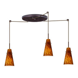 Besa Lighting - Besa Lighting 3JW-412418 Cierro 3 Light Cord-Hung Mini Pendant - Cierro is a softly tapered narrow cylinder, creating a refined contemporary look. Our Amber Cloud glass is full of floating, vibrant warm tones that range from light gold to deep amber. When lit, the humid color palette illuminates to exude a harmonious display. This decor is created by rolling molten glass in small bits of brown hues called frit. The result is a multi-layered blown glass, where frit color is nestled between an opal inner layer and a clear glossy outer layer. This blown glass is handcrafted by a skilled artisan, utilizing century-old techniques passed down from generation to generation. Each piece of this decor has its own artistic nature that can be individually appreciated. The cord pendant fixture is equipped with three (3) 10' SVT cordsets and a 3-light large round canopy, three (3) suspension stemhooks included.Features: