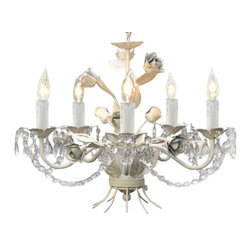 "The Gallery - WROUGHT IRON FLORAL CHANDELIER CRYSTAL CHANDELIERS LIGHTING H14"" W17"" - THE GARDEN COLLECTION. NOTHING COMPLETES A ROOM LIKE A BEAUTIFUL LIGHTING FIXTURE! THIS WONDERFUL CHANDELIER IS ALL WROUGHT IRON AND DRESSED WITH 100% CRYSTAL. IT'S GRACEFUL DESIGN AND BEAUTIFUL LINES MAKES THIS CHANDELIER TRULY ONE OF A KIND! This item comes with 18 inches of chain. 5 LIGHTS, SIZE: H14"" W17"".Assembly Required."